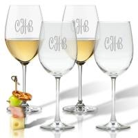 Carved Solutions Personalized Wine Stemware Set of 4