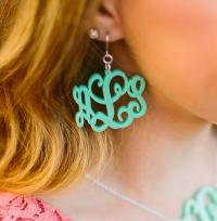 Acrylic Floating Monogram Earrings
