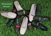 Monogrammed Leather Driving Moccasins for Women