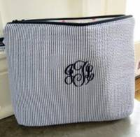 Small Seersucker Cosmetic Bag