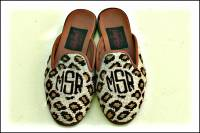 Monogrammed Needlepoint Leopard Loafers or Mules