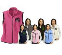 Monogrammed Ladies Fleece Vest in Pink, Blue, Black and Greys