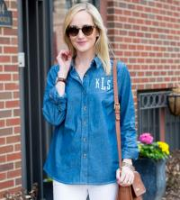 Monogrammed Chambray Shirt Dark Indigo