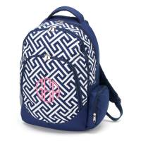 Navy Greek Key Backpack