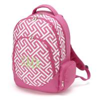 Pink Greek Key Backpack