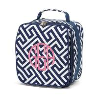 Navy Greek Key Lunch Bag