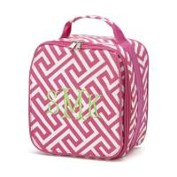 Pink Greek Key Lunch Bag