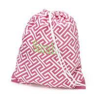 Pink Greek Key Gym Bag