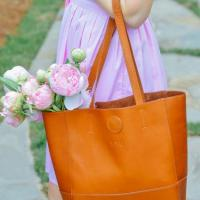 Vertical Leather Kate Tote cafe, tan or Black