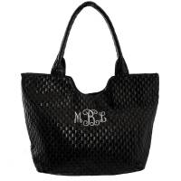 Woven Vegan Leather Bag - Black