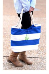 Nautical Stripe Beach Tote - Blue