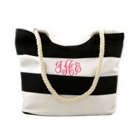 Nautical Stripe Beach Tote - Black