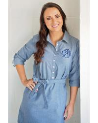 Monogrammed Ladies Blue Chambray Shirtdress