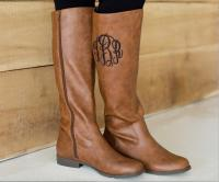 Monogrammed Brown Boots