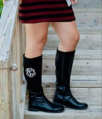 Monogrammed Ladies Tall Black Riding Boots
