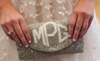 Monogrammed Beaded Ladies Foldover Clutch Diamond Monogram