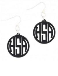 Monogrammed Black Earrings Ava on French Wires
