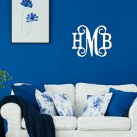 Classic Vine 3 Initial Wood Monogram 18 Inches