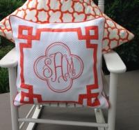 "Monogrammed 20 inch pillow with 1"" Fretwork"