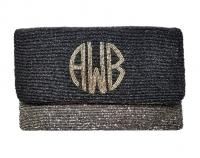Monogrammed  Double Color Circle Monogram Large Beaded Clutch