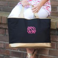 Personalized Black Canvas Cabana Tote