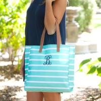 Personalized Mint Stripe Tote