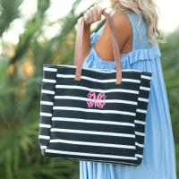 Personalized Black Stripe Tote