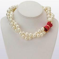 Double Strand Shell Pearl Necklace with Pink Enamel 18K Gold Filled Tulip Clasp