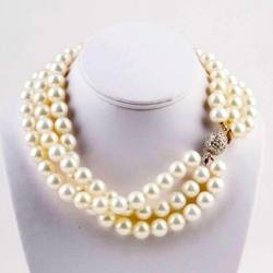 Triple Strand Pearl Neclace with Sterling Silver Clasp The Lizzie