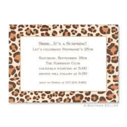 Leopard Brown Flat Card Invitation