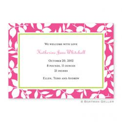 Silo Leaves Raspberry Flat Card Invitation