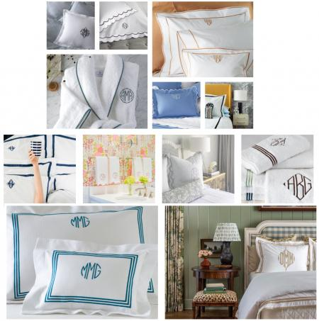 beautiful monogrammed bedding