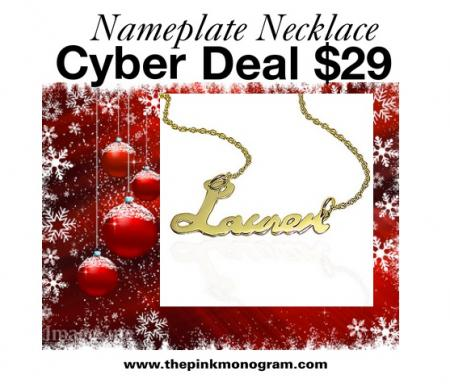 hurry for our nameplate necklace cyber deal