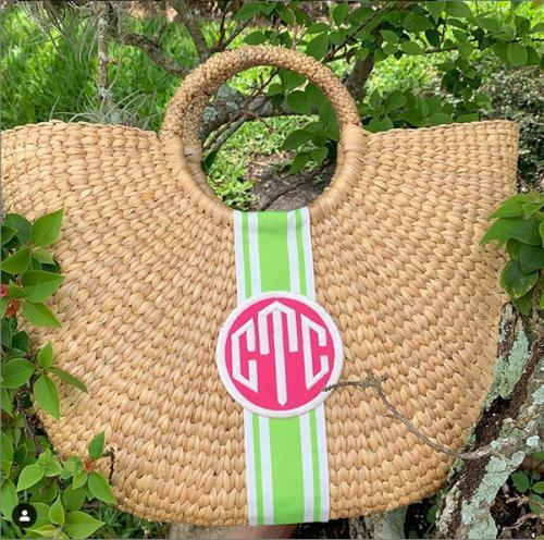 Queen Bea Monogrammed Large Half Moon Basket Monogram Apparel & Accessories > Handbags > Tote Handbags