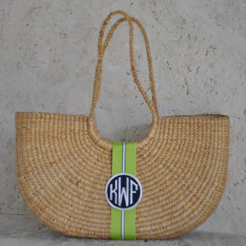 Monogrammed Over the Shoulder Florida Basket Large  14 by 16 by 5 inches  Apparel & Accessories > Handbags > Tote Handbags