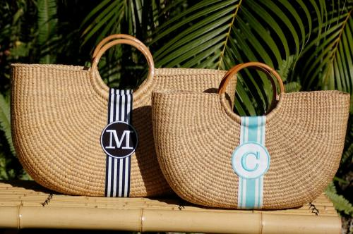 Queen Bea Monogrammed Shorty Florida Basket  Apparel & Accessories > Handbags > Tote Handbags