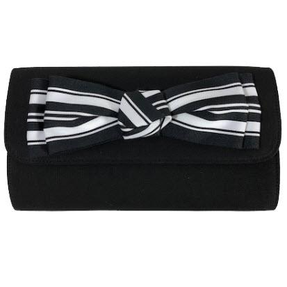 Custom Black Foldover Clutch with Bow  Apparel & Accessories > Handbags > Clutches & Special Occasion Bags