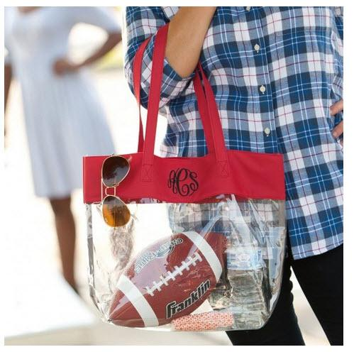 Clear Stadium Tote with Red Trim  Apparel & Accessories > Handbags > Tote Handbags