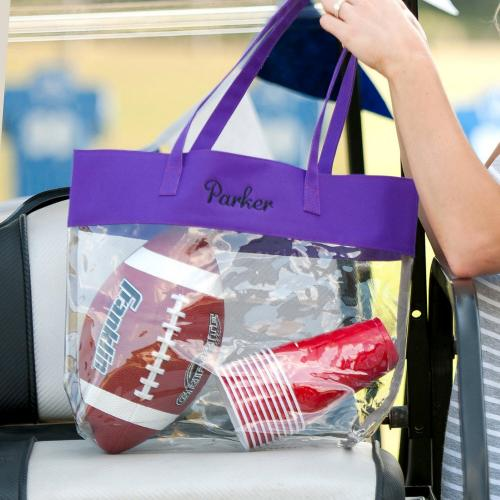 Monogrammed Clear Stadium Tote with Purple Trim  Apparel & Accessories > Handbags > Tote Handbags