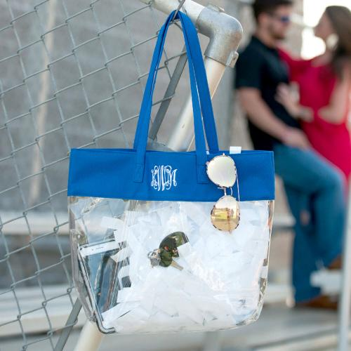 Monogrammed Clear Stadium Tote Trimmed in Royal Blue  Apparel & Accessories > Handbags > Tote Handbags