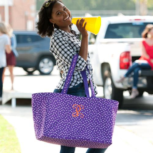 Personalized Purple Scattered Dot Ultimate Tote  Home & Garden > Household Supplies > Storage & Organization > Utility Baskets