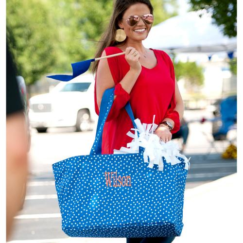 Personalized Royal Blue Scattered Dot Ultimate Tote  Home & Garden > Household Supplies > Storage & Organization > Utility Baskets