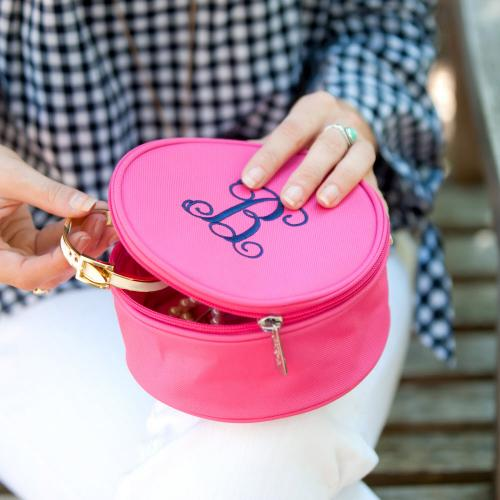 Personalized Round Hot Pink Jewelry Case  Health & Beauty > Jewelry Cleaning & Care > Jewelry Holders