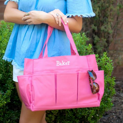 Personalized Hot Pink Carry All Tote  Home & Garden > Household Supplies > Storage & Organization > Utility Baskets
