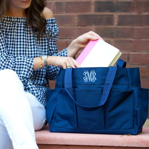 Personalized Navy Blue Carry All Tote  Home & Garden > Household Supplies > Storage & Organization > Utility Baskets