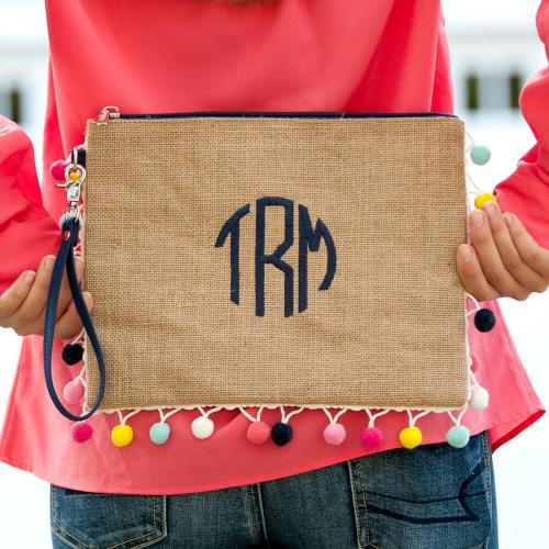 Monogrammed Pom Pom Clutch with Multicolor Trim  Apparel & Accessories > Handbags > Clutches & Special Occasion Bags