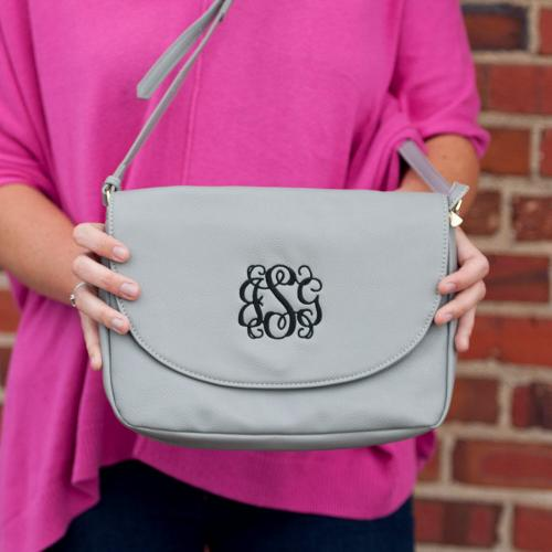 Vegan Leather Monogrammed Grey Anna Crossbody  Apparel & Accessories > Handbags > Cross-Body Handbags