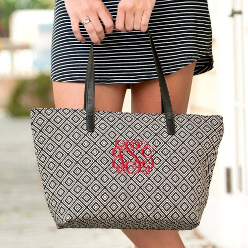Monogrammed Black Diamond Charlotte Tote Purse  Apparel & Accessories > Handbags > Tote Handbags