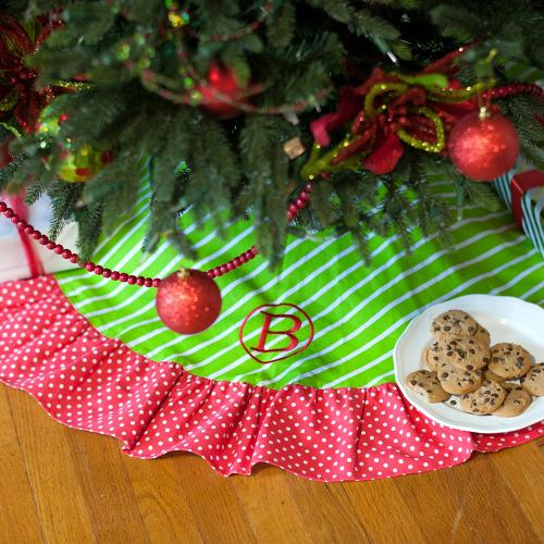 Personalized Merry and Bright Tree Skirt  Home & Garden > Decor > Seasonal & Holiday Decorations > Christmas Tree Skirts