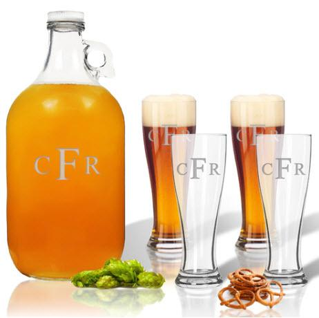 Growler & Pilsner Glass Set Personalized  Home & Garden > Kitchen & Dining > Barware
